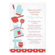 Fun Retro Kitchen Bridal Shower Invitation featuring a apron, spatula, bowl, whisk pot holder & mixer.