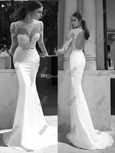 Berta 2014 New Sheer Illusion Bateau Open Back Applique Gold Sash Sweep Train Mermaid Backless Evening Dresses Bridal Gowns Prom Dresses, $113.58 | DHgate.com