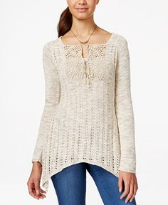 American Rag Open-Knit Asymmetrical-Hem Pullover Sweater, Only at Macy's
