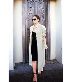@Who What Wear - Karla Deras of Karla's Closet On Deras: Vintage jacket; ASOS Midi Body-Conscious Tank Dress ($35); Aquazzura Sahierienne Leather Strappy Sandals ($735); Karla's Closet For eLUXE Open Circle Ring ($40)