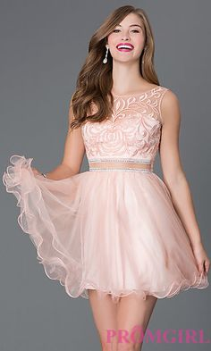 Short Sleeveless Peach Homecoming Dress 9151 at PromGirl.com
