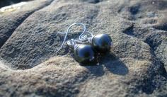 Tahitian pearls, handforged earrings