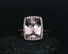 Emerald Cut Morganite Diamond Pave Halo Rose door IturraldeDiamonds