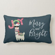 Shop Llama wearing a Santa Hat and Sunglasses Lumbar Pillow created by Mirribug. Personalize it with photos & text or purchase as is! Funny Throw Pillows, Bed Pillows, Custom Pillows, Decorative Pillows, Llama Christmas, American Animals, Cute Llama, Pillow Quotes, Dark Blue Background