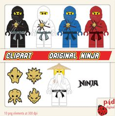 The original Ninjas with Sensei Wu Clipart - in the original red, blue, white & black colours plus each of their symbols.  This instant download