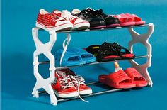 Free Shipping Stainless Steel Three Simple Plasitc Shoe Hanger Stainless Steel Shoes Rack Random Color