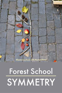 Forest school symmetry activity using loose parts - NurtureStore Symmetry Activities, Math Activities For Kids, Math Games, Natural Playground, Playground Ideas, Maths In Nature, Outdoor Learning Spaces, Forest School Activities, Symmetry Art
