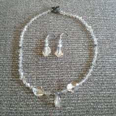 """Beautiful Swarovski Crystal Necklace and Earrings Swarovski Crystal Necklace and Matching Earrings.    Length. 17 """". Earrings dangle 1-1/2"""". More gorgeous than my photos Jewelry Necklaces"""