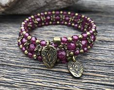 Paradise Pink Faceted Czech Glass Multi Strand Memory Wire Wrap Bracelet