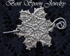 Shawl Pin, Silver Snowflake Shawl Pin ...Scarf Pin