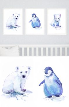 Baby Animals Arctic Nursery Decor Antarctica Watercolor Painting Set of 3 prints, Blue Wall Art Print New baby Gift Winter Animals Three  Set of 3 prints-   high quality fine art prints of my original watercolor painting. It is the work of a watercolor series Portraits of the Heart    Size paper: 14,8 × 21cm,5 4/5 × 8 1/4, A5 (with white borders) - 18.00 $  21 cm x 29,7 cm, 8 1/4 x 11.5/8, A4.(with white borders) - 36.00 $  29,7cm × 42cm, 11,69 × 16,54, A3(with white borde...