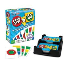 The Talicor Stop 'n Go Card Matching Game is a quick-action card game that is fun for everyone. It is designed for two to six players and play is driven by hand-eye coordination and quick responses. In this kids' card game, players race to be the first to get rid of their cards by matching colors and watching out for special cards, like Zap, Pass and Stop 'n Go. The first to rid themselves of all their cards is the winner. This fun card game includes a double deck of special cards and complete r Fun Card Games, Card Games For Kids, Love Games, All Games, Games To Play, Action Cards, Coordinating Colors, Matching Colors, Go Game