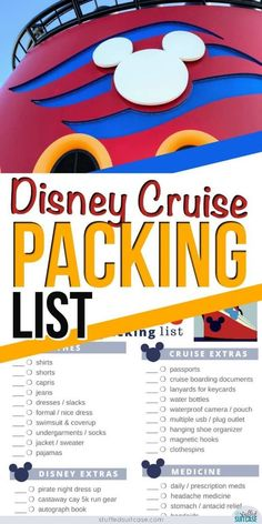Important Things to Pack - Disney Cruise Packing List [Print.- Important Things to Pack – Disney Cruise Packing List [Printable] Disney cruise packing list plus tips and secrets to planning what to pack to make the most of your family cruise. Disney Cruise Line, Disney Magic Cruise, Disney Fantasy Cruise, Disney Dream Cruise Ship, Disney Cruise Excursions, Disney Halloween Cruise, Packing List For Cruise, Cruise Tips, Cruise Vacation