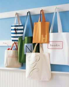 A Tote Bag for Books-Use our iron-on clip art to create a chic library tote for your favorite bookworm. www.marthastewart.com