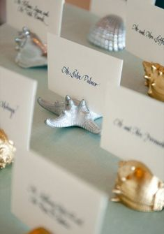 Glam it up with some silver and gold, Beach Wedding Escort Cards!