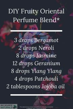 Floral, Fresh and Fruity Essential Oil Perfume Recipes Create an exotic scent, perfect for date night! This essential oil perfume blend combines Patchouli, from the … Jasmine Essential Oil, Patchouli Essential Oil, Essential Oil Perfume, Essential Oil Uses, Diy Perfume Recipes, Homemade Perfume, Patchouli Perfume, Perfume Oils, Young Living