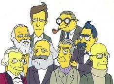 Filósofos visitam episódio de The Simpsons: a partir da esquerda, Immanuel Kant, Socrates, Ludwig Wittgenstein, Karl Marx, Roland Barthes, Jean Paul Sartre, Frederich Nietzsche, Michel Foucault.  Veja também: http://semioticas1.blogspot.com.br/2012/09/revistinha-de-vovo.html