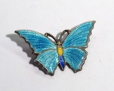 Superb Vintage Art Deco Stratnoid Enamel Butterfly Brooch Circa 1930.