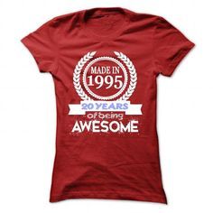 Made in 1995, 20 years of being awesome. - #striped tee #boyfriend hoodie. THE BEST => https://www.sunfrog.com/Names/Made-in-1995-20-years-of-being-awesome-Red-30112973-Ladies.html?68278