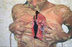 Ricordate questo nome: Ana Teresa #Barboza, originaria di Lima, classe 1981. E' un'artista che sta spopolando sul web e a breve ne sentirete molto parlare. Unisce l'arte del ricamo al disegno su tessuto, creando immagini poetiche di uomini e animali fusi insieme. Cuciture come vere cicatrici sotto le quali la figura umana si mimetizza. http://anateresabarboza.blogspot.com.es/ artsharingproject.com