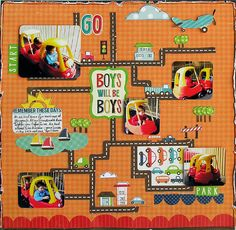 Echo Park - Little Boy Collrection Scrapbook layout Echo Park *Little Boy Collection*