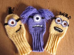 Golf Clubs New Hand crocheted minion inspired golf club covers - Love Crochet, Crochet Gifts, Hand Crochet, Knit Crochet, Chrochet, Knitting Projects, Crochet Projects, Crochet Ideas, Golf Crafts