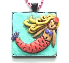 Ocean Mermaid Necklace made from Polymer by cortneyrectorFOLKART, $29.00