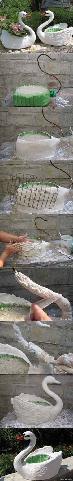 Turn Plastic Bottle to pot planter as Swan You can use a plastic bottle to make a planter in the shape of a swan. Just fill it wit...