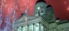 New Year's Eve celebrations, Senate Square, party, melting tin, fireworks, champagne, Helsinki, Finland