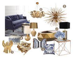 """GoldenBlue"" by kowanse on Polyvore featuring interior, interiors, interior design, дом, home decor, interior decorating, AERIN, Shine by S.H.O, Eichholtz и VERONA"