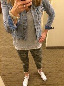 Denim Jacket, Camo pants & Converse. Love the combo!