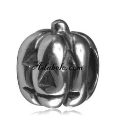 This beautiful happy pumpkin .925 Sterling Silver European charm fits Pandora, Biagi Trollbeads, Chamilia, and most charm bracelets find out more at adabele.com