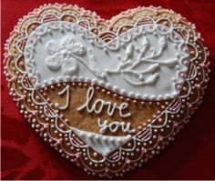'I love you' decorated cookies.