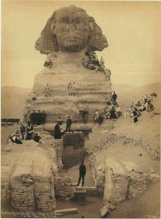 Archival photo of Sphinx from Giza, Cairo Egypt