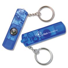 """Whistle Key Light  Here's a small but effective idea for your next safety promotion.  Plastic translucent case houses a bright red light, decorative compass, and whistle on a handy keyring.  Size: 3/4"""" x 2-3/4"""" x 1/4""""."""