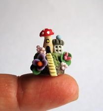 Handmade Miniature FINGERTIP TOADSTOOL FAIRY HOUSE - by C. Rohal