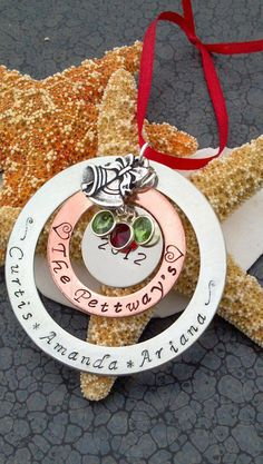 Large hand stamped Christmas ornament Baby's by DawnsMetalDesigns, $18.00