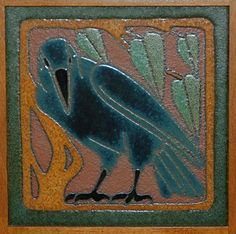 A rook gazes from an original Van Briggle tile at the historic Boettcher Mansion, Golden, Colo.