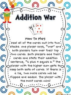 Math Workstation: Playing Card Game Directions