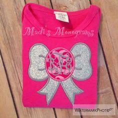 Glitter bow Glitter monogram Glitter bow monogram Monogrammed shirt Monogrammed onesie  Glitter Bow  Monogram Baby girl Girly