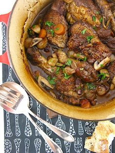 "COQ AU VIN  From ""Mastering the Art of French Cooking"", by Julia Child, Simone Beck, Louisette Bertholle."