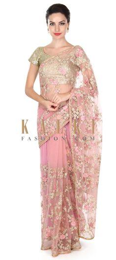Buy this Pink saree embellished in resham in floral motif only on Kalki