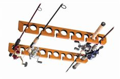Ceiling Fishing Rod Rack 11 Poles Reels Holder Display Storage Lodge Safe Wood