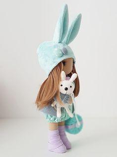 Bunny Textile DOLL WITH CLOTHING, Interior Decor Doll, Tilda Rag Doll, Special Girl Gift christmas doll toys birthday home decor Handmade Clothes, Handmade Items, Special Girl, Fabric Dolls, Girl Gifts, Doll Toys, Soft Fabrics, Kids Toys, Birthday Gifts