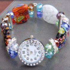 Round Glass Lampwork Crystal Beads Bracelet Bangle Watch HOT Model 1