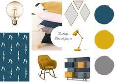 Planche d'ambiance / Vintage bleu & jaune http://www.hejemo.fr/profil/mldeco76