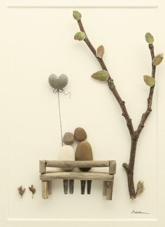 Pebble art Pebble picture Couple sat on bench by PebbleartShop