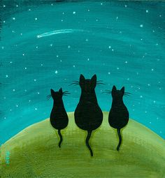 cat folk art | Shooting Star Original Cat Folk Art Painting