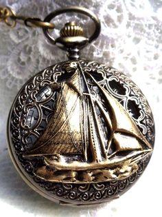 Montre de poche nautique, montre de poche pour hommes, thème nautique, boîtier avant est monté avec le voilier