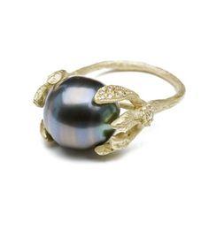 Vines & Leaves Tahitian Pearl Ring : Kamofie.com // i like the idea of something kind of like this for my tahitian pearl
